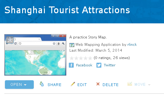 Screen shot of a completed sample map tour entitled Shanghai Tourist Attractions-a Practice Story Map