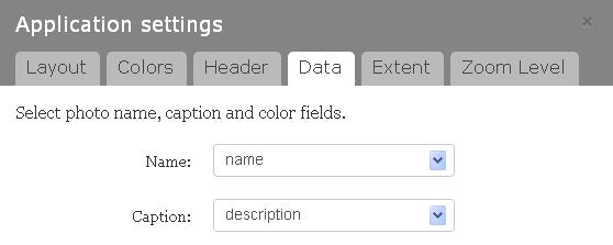 Screen shot of the application settings' data tab
