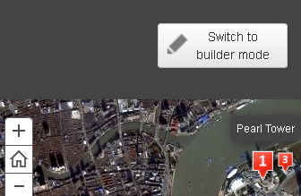 Screen shot of a published sample web application with the Switch to Builder Mode button shown