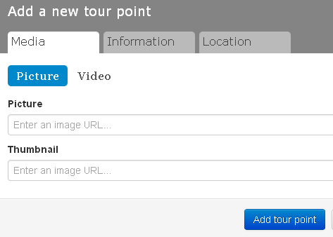 Screen shot of the Add a New Tour Point dialog box