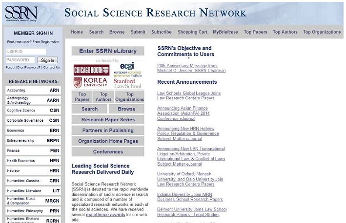 SSRN homepage