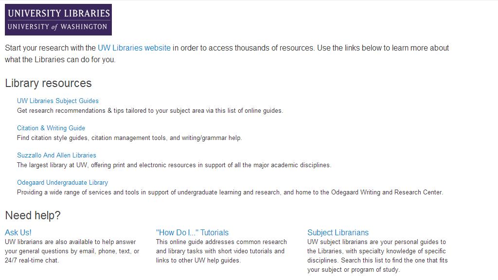 UW Libraries Tab resources