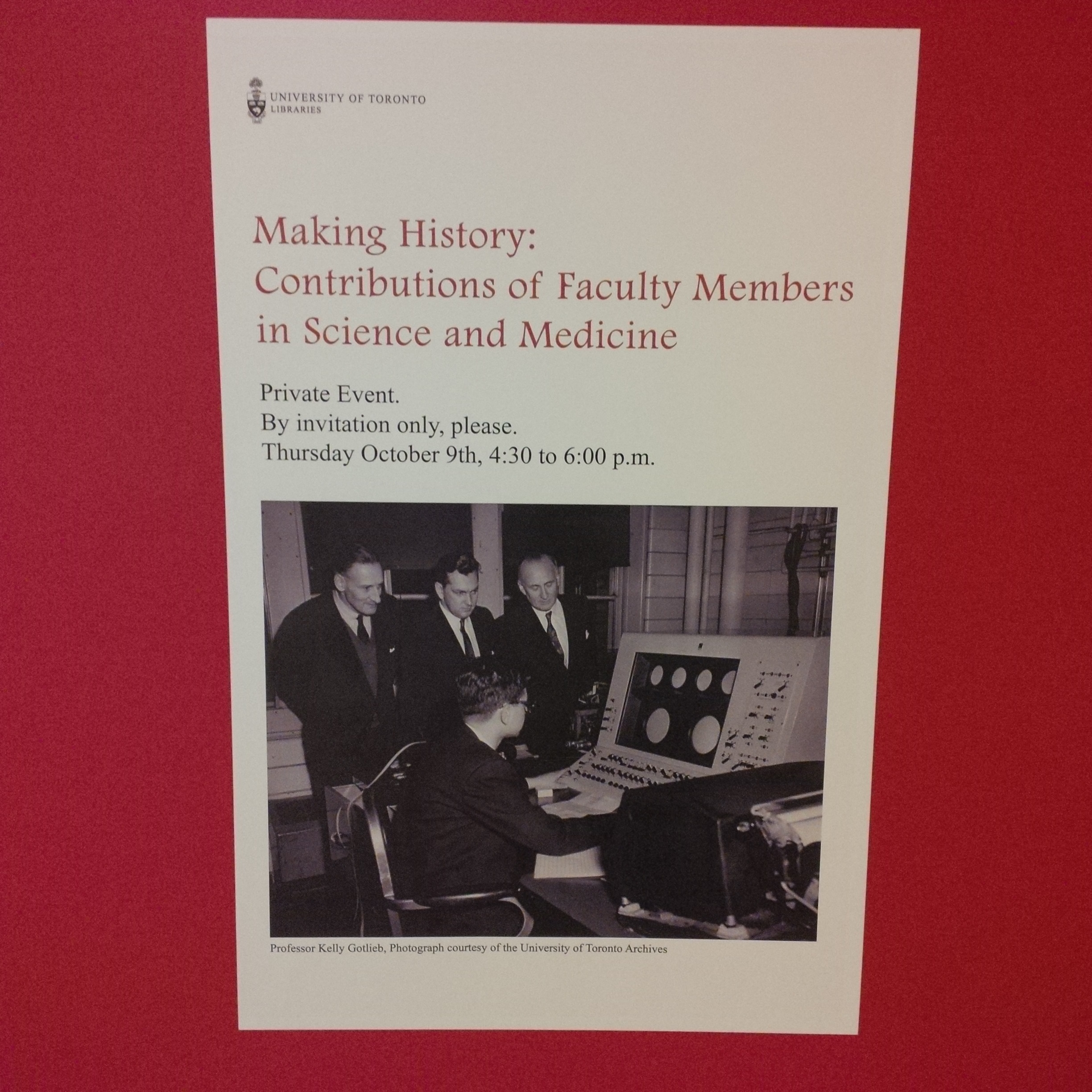 Poster of event Making History: Contributions of Faculty Members in Science and Medicine - photo of three men in lower part of poster at desk terminal