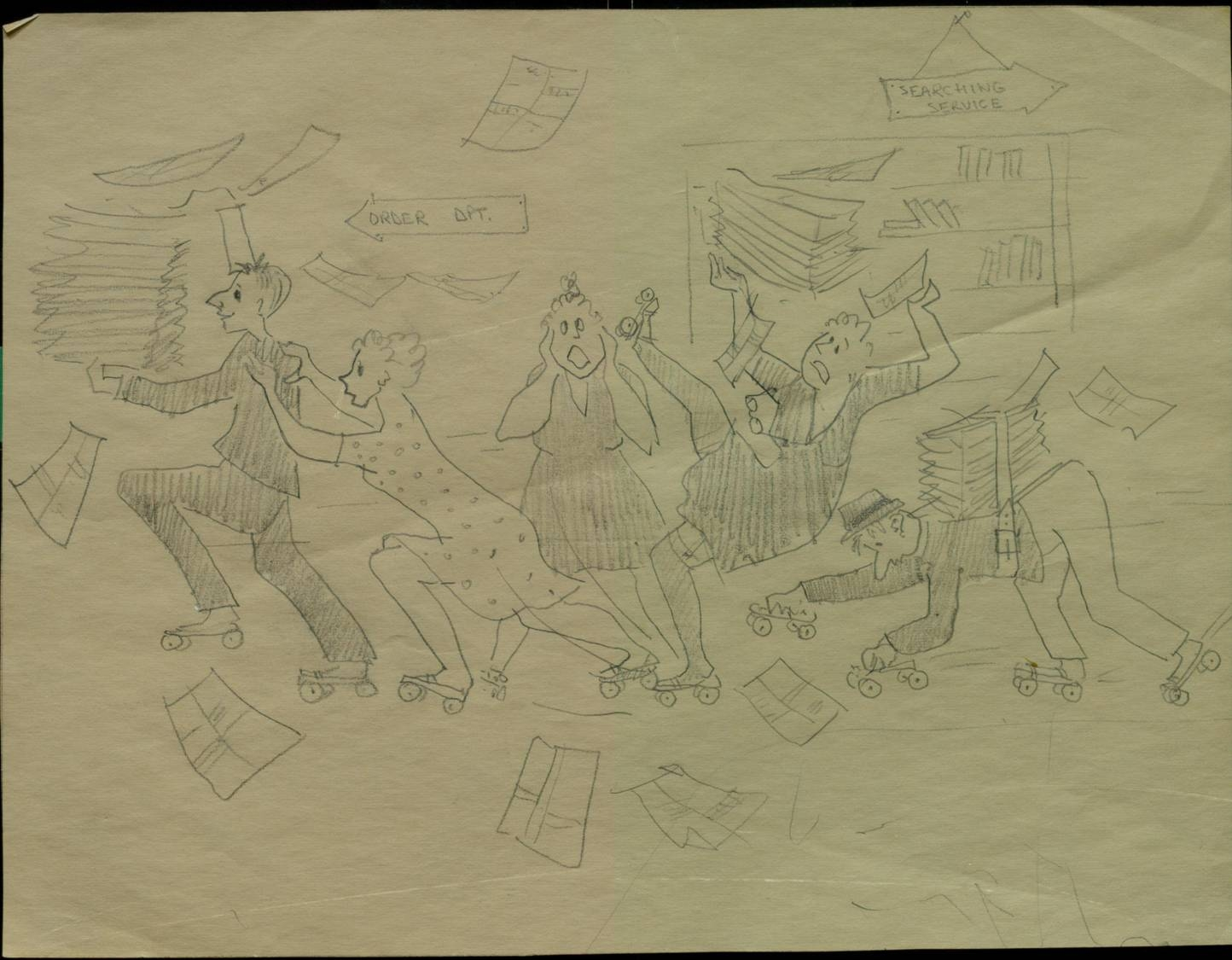 Second of two hand-drawn pictures of UTL Collections Development department, possibly drawn in the sixties