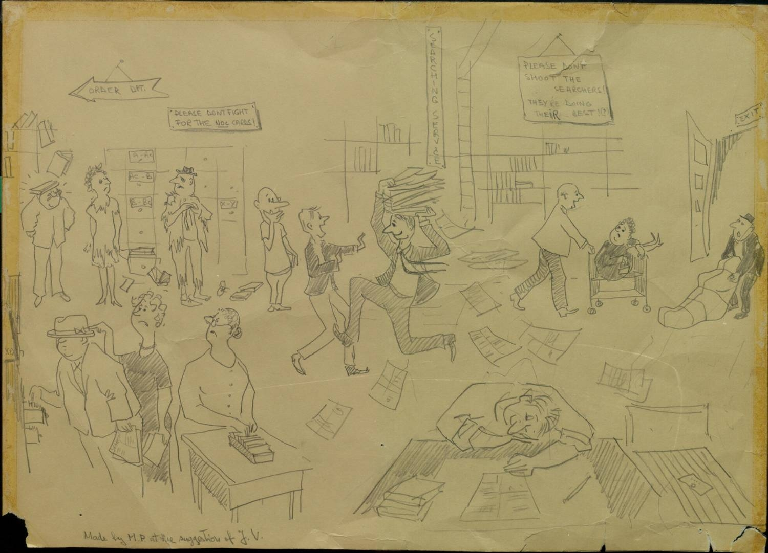 First of two hand-drawn pictures of UTL Collections Development department, possibly drawn in the sixties
