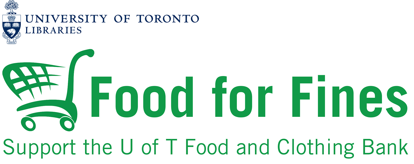 Food for fines and U of T logo combined: U of T Logo about Food for Fines Logo - their logo has a green shopping cart to the left and the wording after of: Food for Fines - Supportthe U of T Food and Clothing Bank