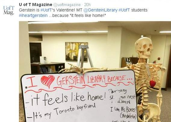 Gerstein's mascot Skully, with a tweet from U of T Magazine