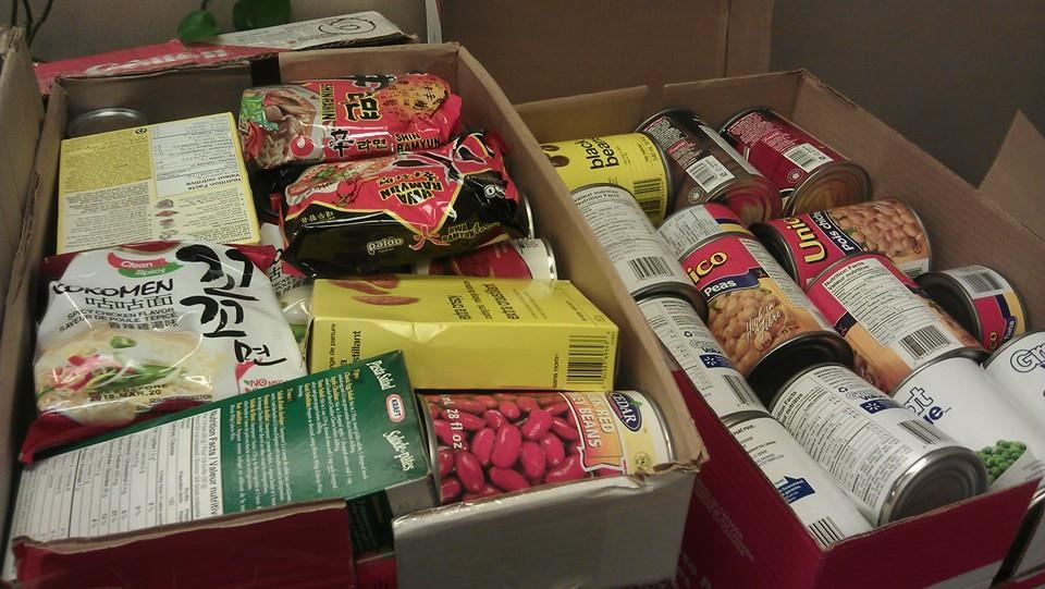 2 mixed boxes of donated food